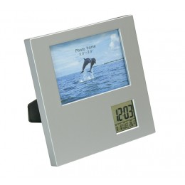 Photo frame with clock, thermometer, calendar and alarm clock