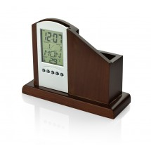 Wooden desk organizer with weather station