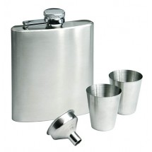 Set: hip flask, 2 cups, funnel