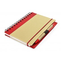 Notebook with pen red