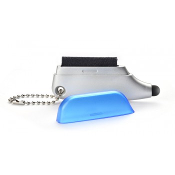 Computer cleaner with touch stylus blue