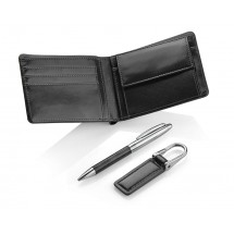Gift set - wallet, keychain, ball pen black