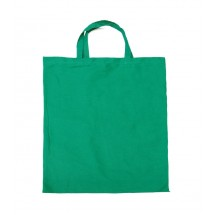 Cotton bag with short handles green