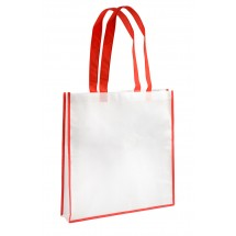 Shopping bag white and red