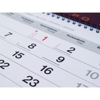 1 mėn sieninis kalendorius
